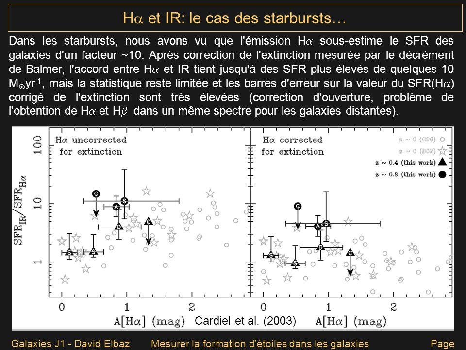 Galaxies J1 - David ElbazMesurer la formation d'étoiles dans les galaxies Page 56 H et IR: le cas des starbursts… Dans les starbursts, nous avons vu q