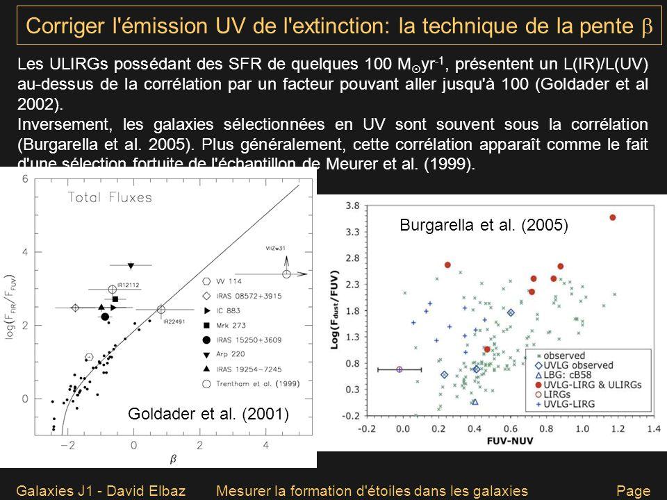 Galaxies J1 - David ElbazMesurer la formation d'étoiles dans les galaxies Page 59 Corriger l'émission UV de l'extinction: la technique de la pente Les