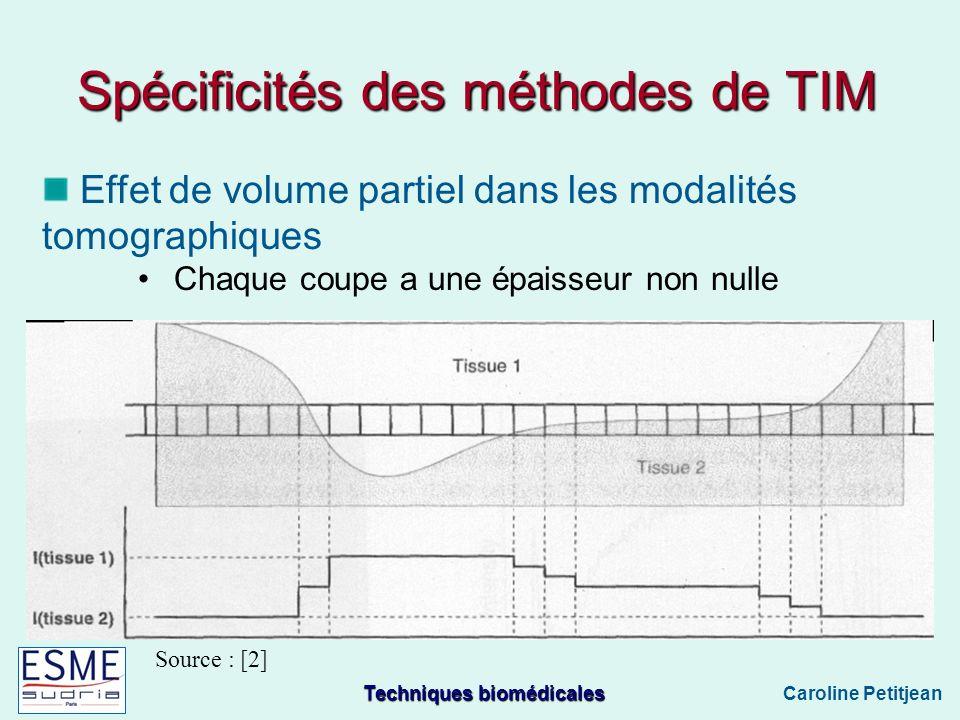 Techniques biomédicales Caroline Petitjean Effet de volume partiel dans les modalités tomographiques Chaque coupe a une épaisseur non nulle Source : [2] Spécificités des méthodes de TIM