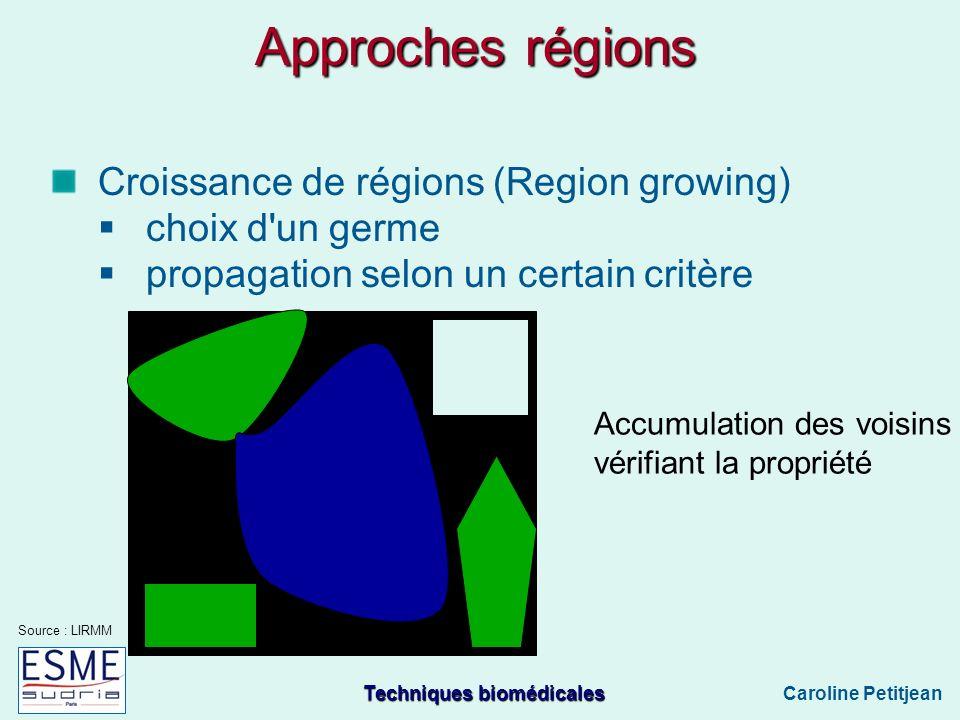 Techniques biomédicales Caroline Petitjean Approches régions Croissance de régions (Region growing) choix d un germe propagation selon un certain critère Accumulation des voisins vérifiant la propriété Source : LIRMM