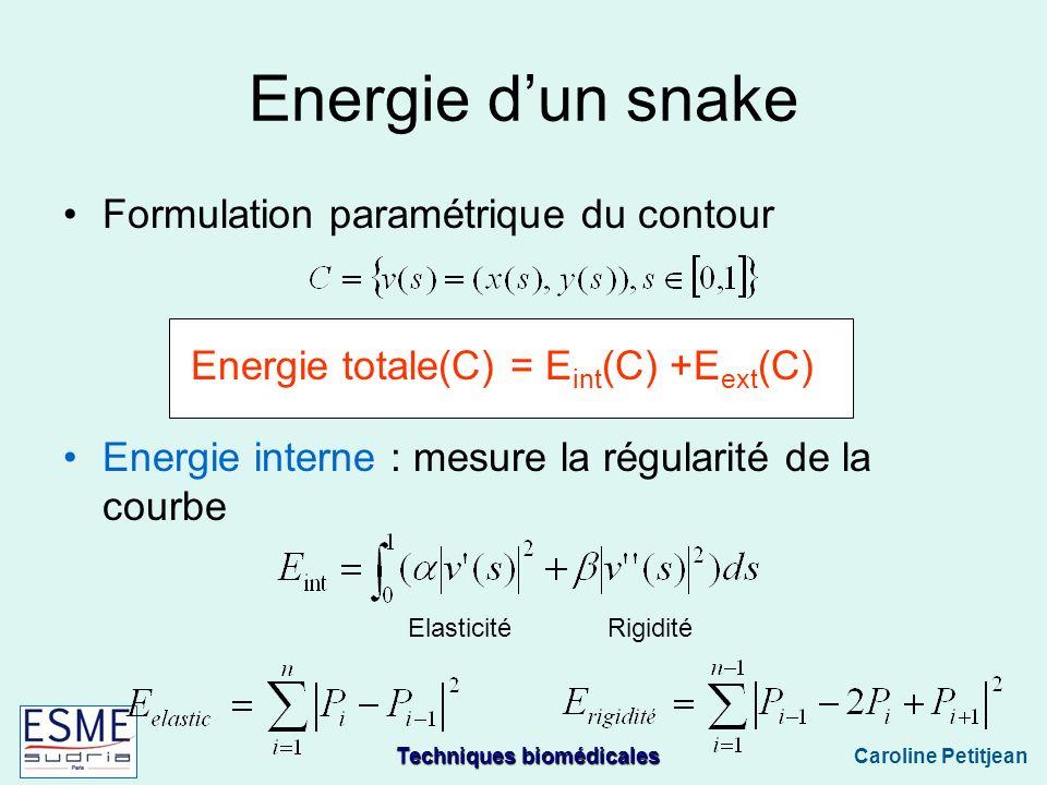 Techniques biomédicales Caroline Petitjean Energie dun snake Formulation paramétrique du contour Energie totale(C) = E int (C) +E ext (C) Energie interne : mesure la régularité de la courbe ElasticitéRigidité