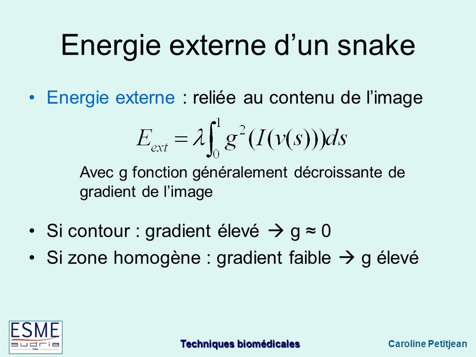 Techniques biomédicales Caroline Petitjean Energie externe dun snake Energie externe : reliée au contenu de limage Si contour : gradient élevé g 0 Si zone homogène : gradient faible g élevé Avec g fonction généralement décroissante de gradient de limage