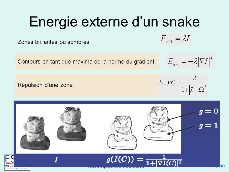 Techniques biomédicales Caroline Petitjean Energie externe dun snake Contours en tant que maxima de la norme du gradient: Zones brillantes ou sombres: Répulsion dune zone: