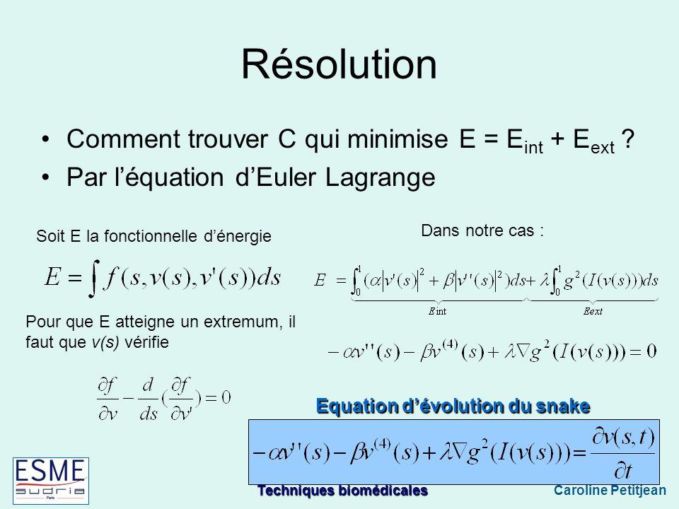 Techniques biomédicales Caroline Petitjean Résolution Comment trouver C qui minimise E = E int + E ext .