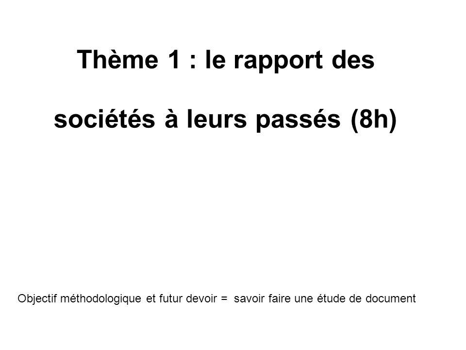 Thème 1 : le rapport des sociétés à leurs passés (8h) Objectif méthodologique et futur devoir = savoir faire une étude de document
