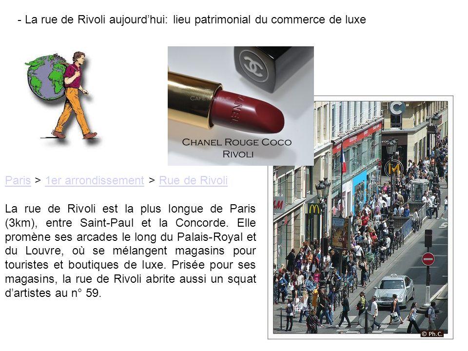 - La rue de Rivoli aujourdhui: lieu patrimonial du commerce de luxe ParisParis > 1er arrondissement > Rue de Rivoli1er arrondissementRue de Rivoli La