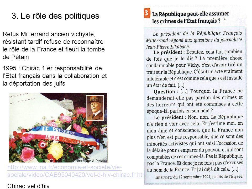 Refus Mitterrand ancien vichyste, résistant tardif refuse de reconnaître le rôle de la France et fleuri la tombe de Pétain 1995 : Chirac 1 er responsa