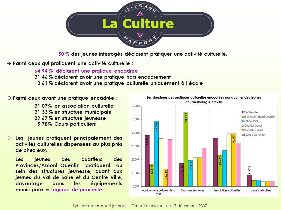 50 % des jeunes interrogés déclarent pratiquer une activité culturelle. Parmi ceux qui pratiquent une activité culturelle : 64.94 % déclarent une prat