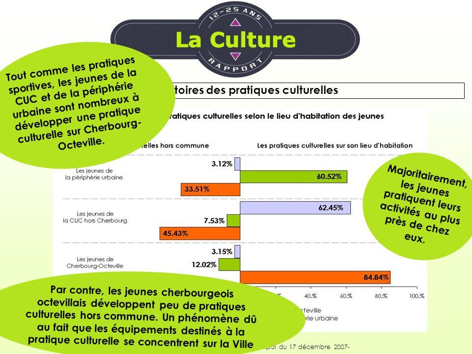 Les territoires des pratiques culturelles Synthèse du rapport jeunesse –Conseil municipal du 17 décembre 2007- Majoritairement, les jeunes pratiquent