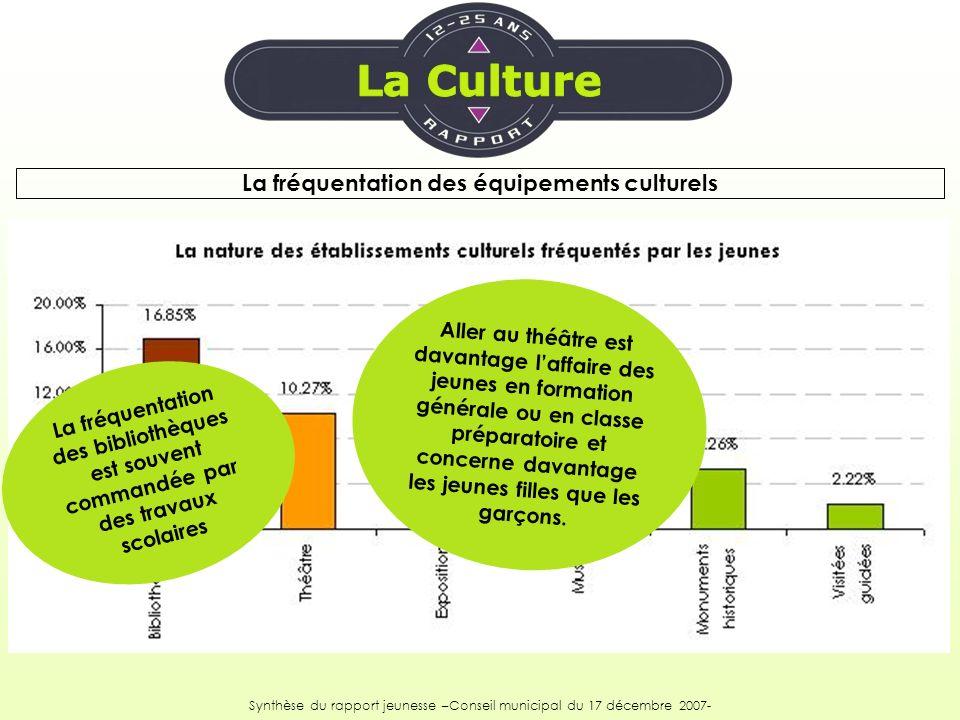 La fréquentation des équipements culturels Synthèse du rapport jeunesse –Conseil municipal du 17 décembre 2007- La fréquentation des bibliothèques est