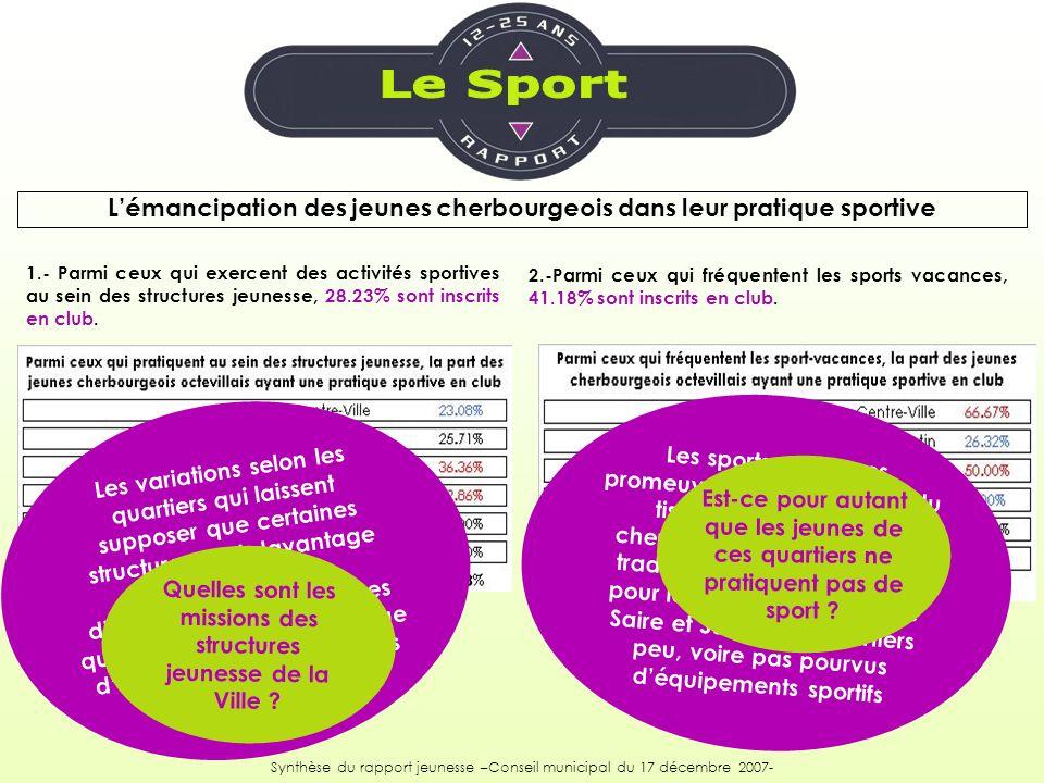2.-Parmi ceux qui fréquentent les sports vacances, 41.18% sont inscrits en club. 1.- Parmi ceux qui exercent des activités sportives au sein des struc