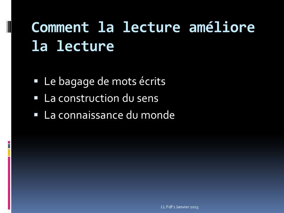 Comment la lecture améliore la lecture Le bagage de mots écrits La construction du sens La connaissance du monde LL FdF1 Janvier 2013