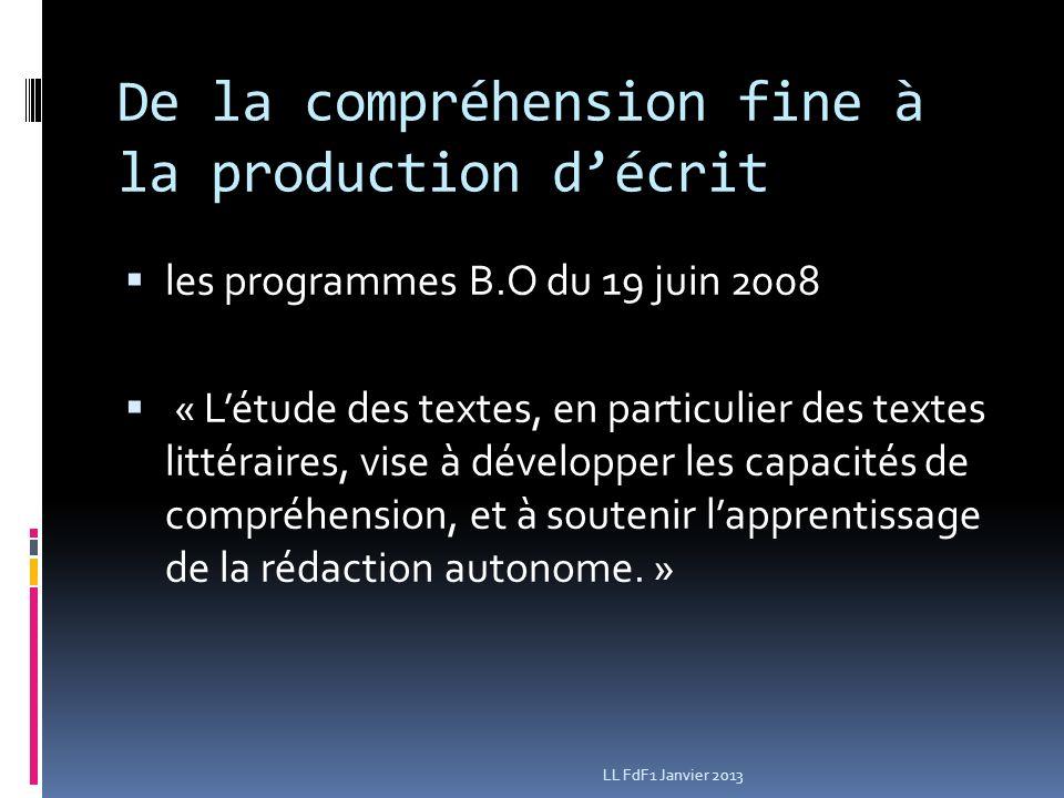 De la compréhension fine à la production décrit les programmes B.O du 19 juin 2008 « Létude des textes, en particulier des textes littéraires, vise à développer les capacités de compréhension, et à soutenir lapprentissage de la rédaction autonome.
