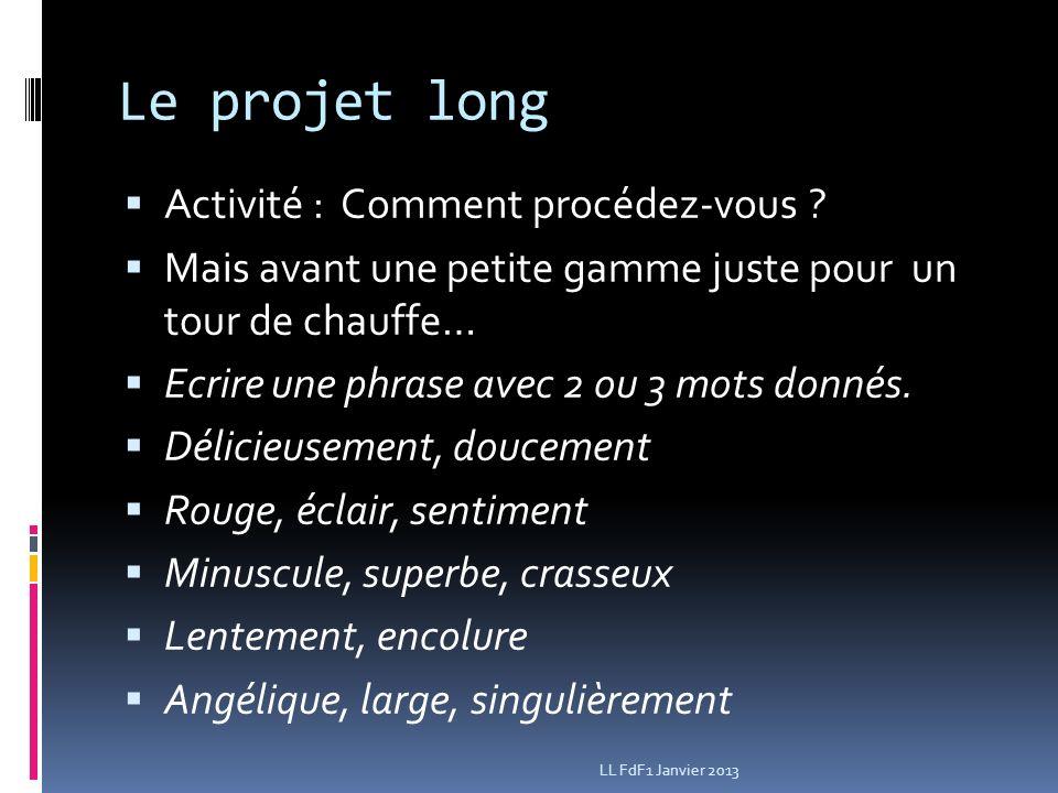 Le projet long Activité : Comment procédez-vous .