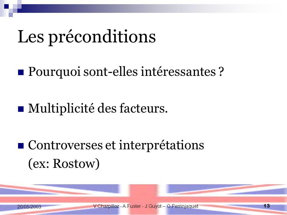 V.Charpilloz - A.Fuster - J.Guyot – O.Perrinjaquet13 20/05/2003 Les préconditions Pourquoi sont-elles intéressantes ? Multiplicité des facteurs. Contr