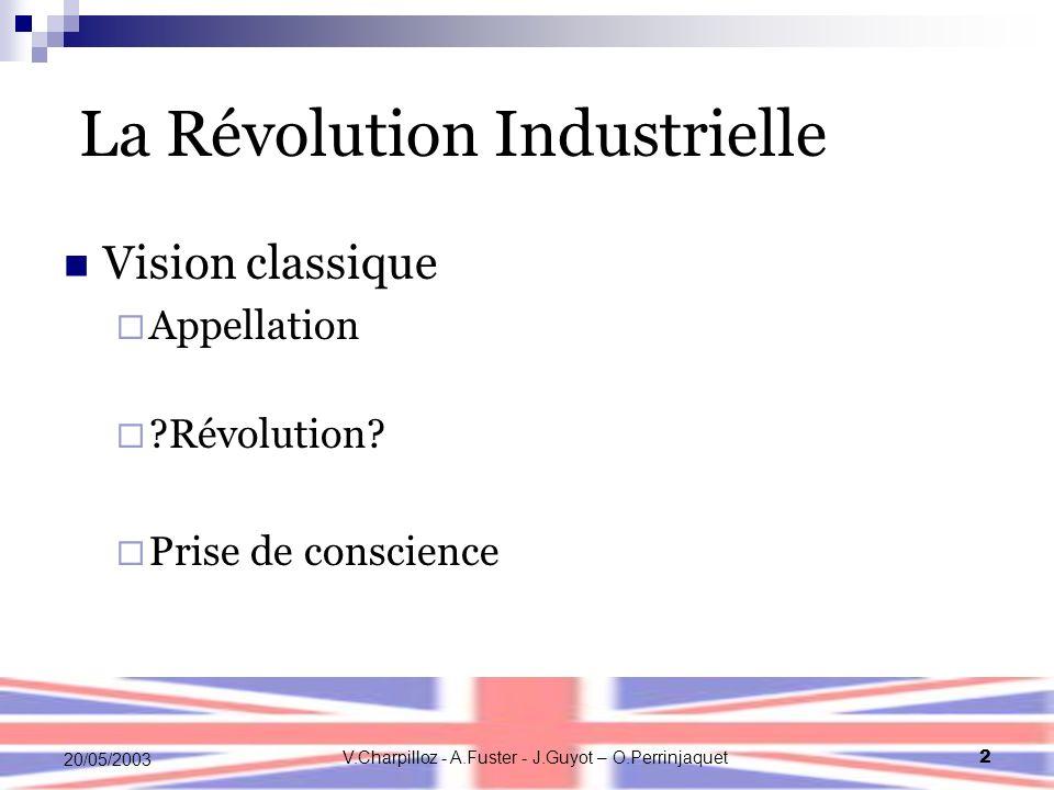 V.Charpilloz - A.Fuster - J.Guyot – O.Perrinjaquet2 20/05/2003 La Révolution Industrielle Vision classique Appellation ?Révolution? Prise de conscienc