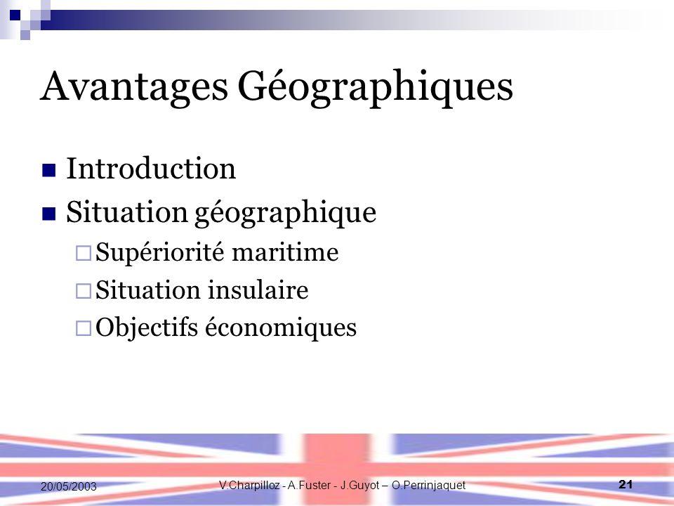 V.Charpilloz - A.Fuster - J.Guyot – O.Perrinjaquet21 20/05/2003 Avantages Géographiques Introduction Situation géographique Supériorité maritime Situation insulaire Objectifs économiques