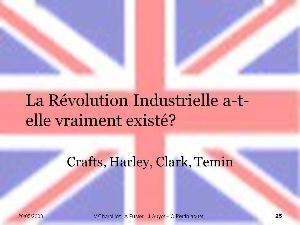 V.Charpilloz - A.Fuster - J.Guyot – O.Perrinjaquet 25 20/05/2003 La Révolution Industrielle a-t- elle vraiment existé? Crafts, Harley, Clark, Temin