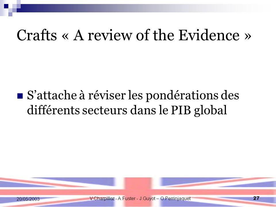 V.Charpilloz - A.Fuster - J.Guyot – O.Perrinjaquet27 20/05/2003 Crafts « A review of the Evidence » Sattache à réviser les pondérations des différents secteurs dans le PIB global