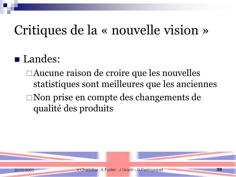V.Charpilloz - A.Fuster - J.Guyot – O.Perrinjaquet39 20/05/2003 Critiques de la « nouvelle vision » Landes: Aucune raison de croire que les nouvelles statistiques sont meilleures que les anciennes Non prise en compte des changements de qualité des produits