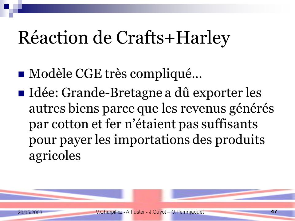 V.Charpilloz - A.Fuster - J.Guyot – O.Perrinjaquet47 20/05/2003 Réaction de Crafts+Harley Modèle CGE très compliqué... Idée: Grande-Bretagne a dû expo