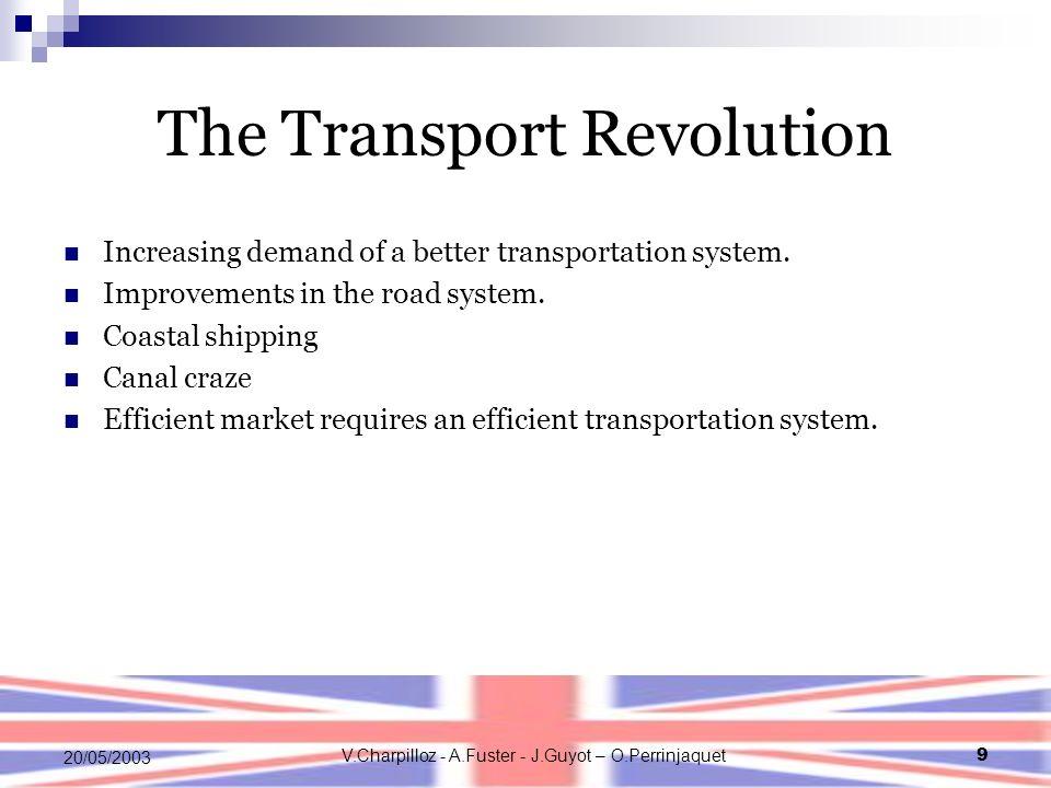 V.Charpilloz - A.Fuster - J.Guyot – O.Perrinjaquet9 20/05/2003 The Transport Revolution Increasing demand of a better transportation system. Improveme