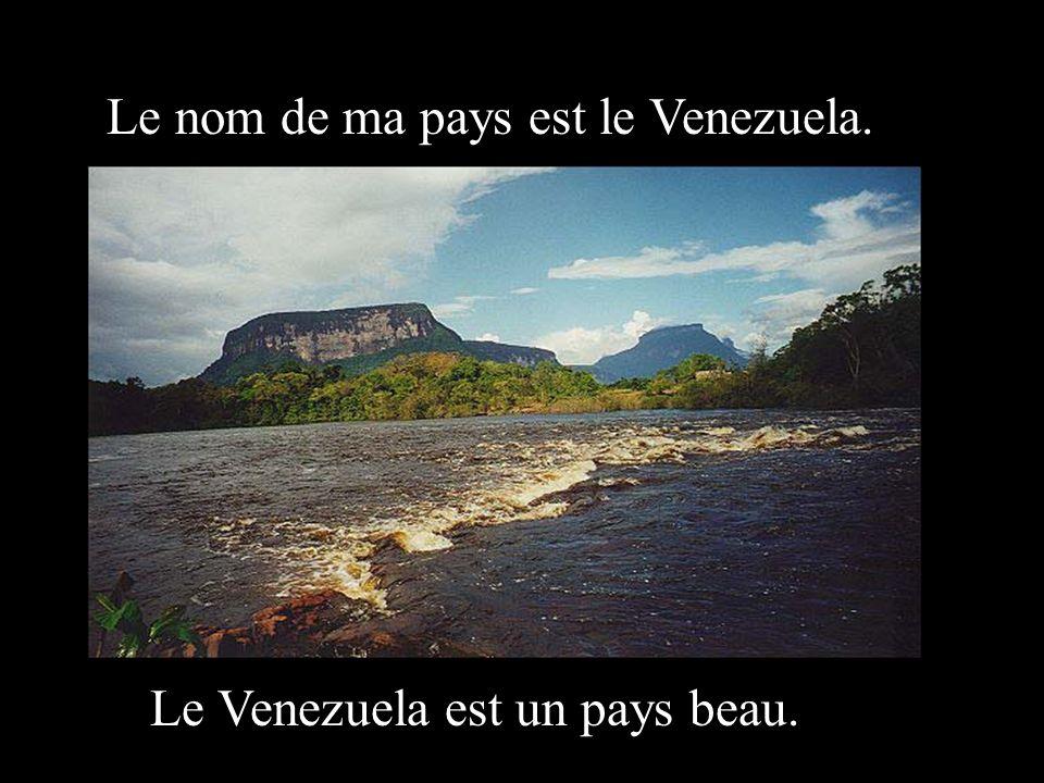 Le nom de ma pays est le Venezuela. Le Venezuela est un pays beau.