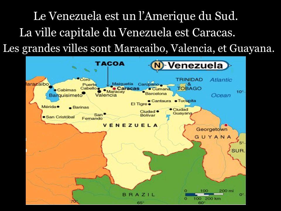 Le Venezuela est un lAmerique du Sud. La ville capitale du Venezuela est Caracas. Les grandes villes sont Maracaibo, Valencia, et Guayana.