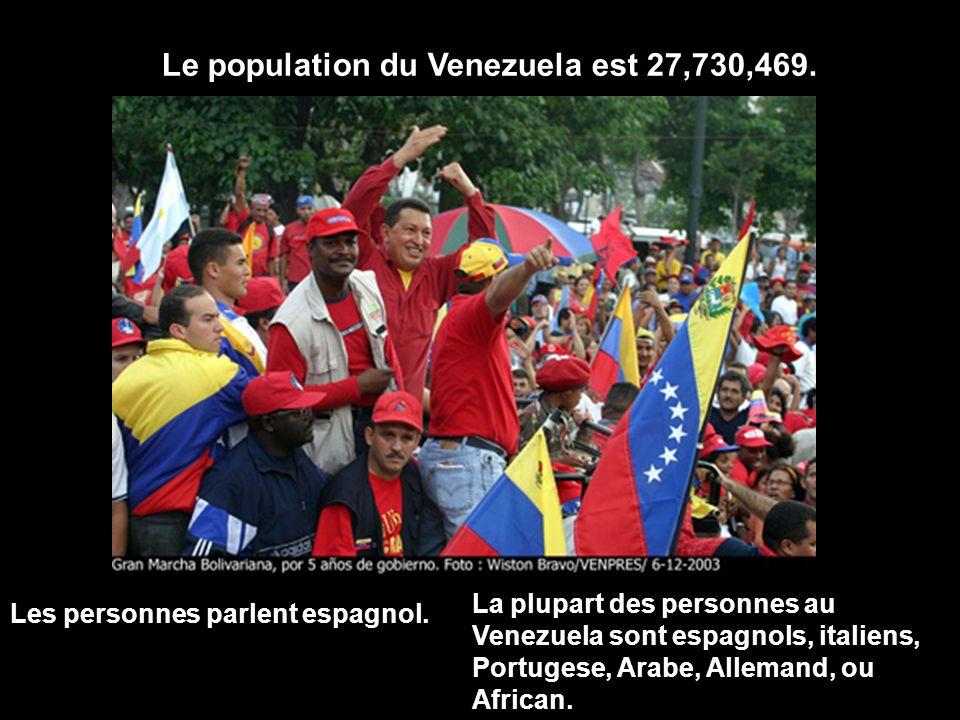 Le population du Venezuela est 27,730,469. Les personnes parlent espagnol. La plupart des personnes au Venezuela sont espagnols, italiens, Portugese,