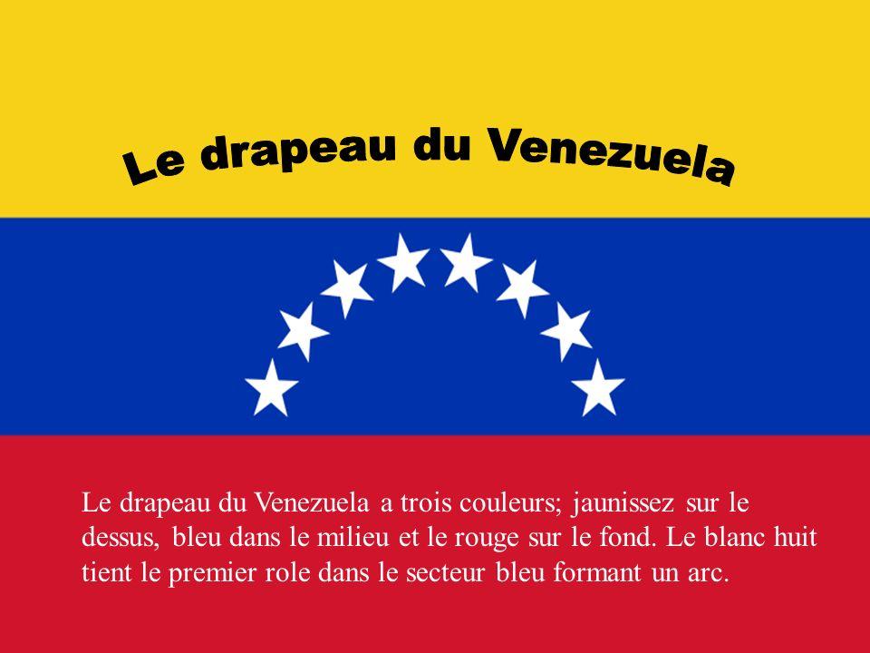 Le drapeau du Venezuela a trois couleurs; jaunissez sur le dessus, bleu dans le milieu et le rouge sur le fond. Le blanc huit tient le premier role da