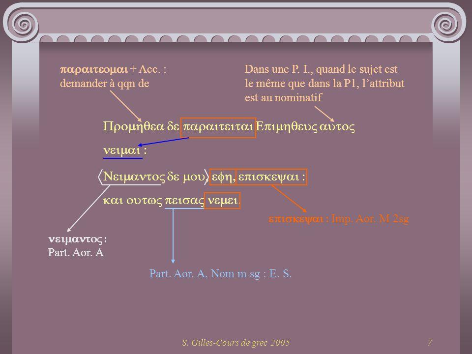 S. Gilles-Cours de grec 20057 + Acc. : demander à qqn de Imp. Aor. M 2sg Part. Aor. A, Nom m sg : E. S. Part. Aor. A Dans une P. I., quand le sujet es