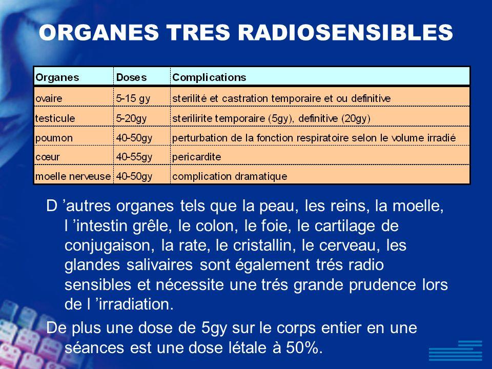 ORGANES TRES RADIOSENSIBLES D autres organes tels que la peau, les reins, la moelle, l intestin grêle, le colon, le foie, le cartilage de conjugaison,