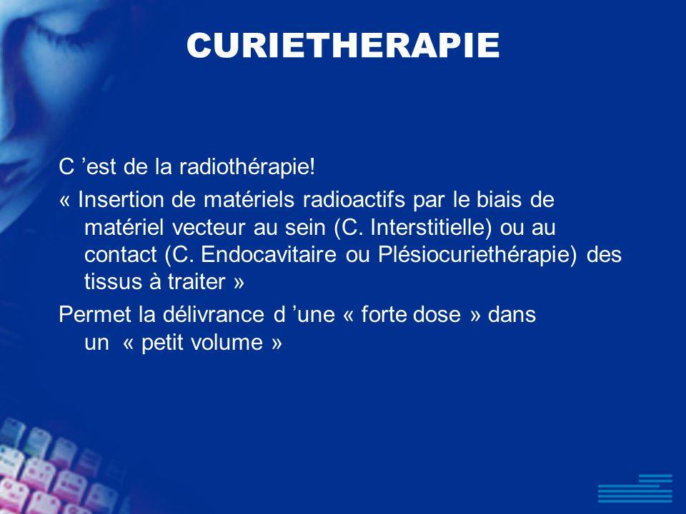 CURIETHERAPIE C est de la radiothérapie! « Insertion de matériels radioactifs par le biais de matériel vecteur au sein (C. Interstitielle) ou au conta