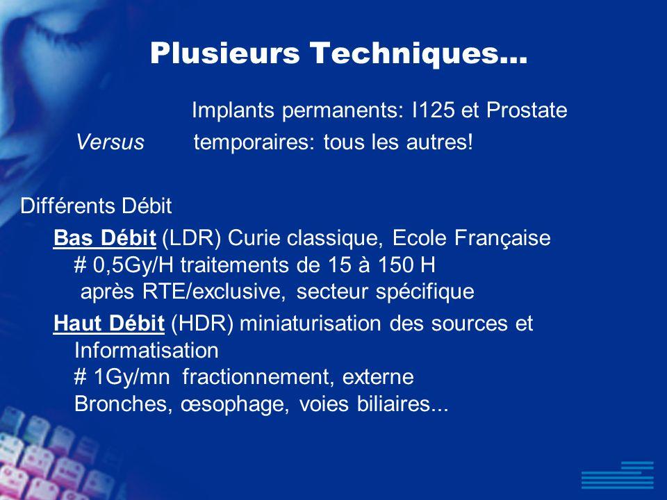 Plusieurs Techniques... Implants permanents: I125 et Prostate Versus temporaires: tous les autres! Différents Débit Bas Débit (LDR) Curie classique, E