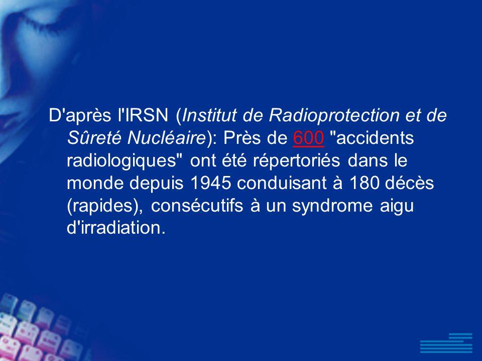 D'après l'IRSN (Institut de Radioprotection et de Sûreté Nucléaire): Près de 600