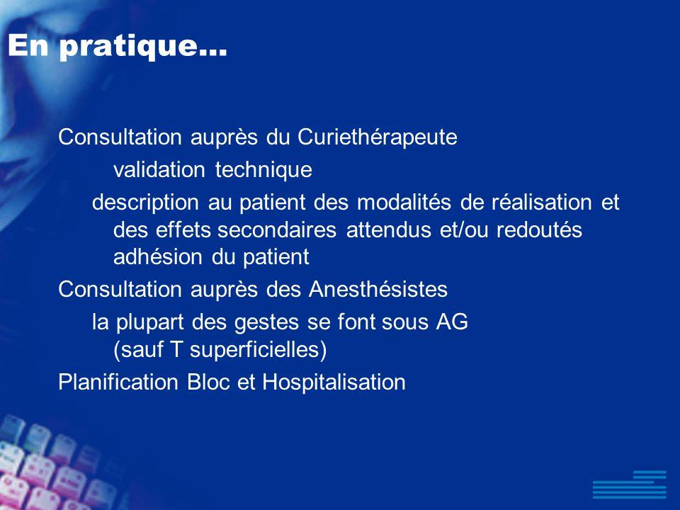 En pratique... Consultation auprès du Curiethérapeute validation technique description au patient des modalités de réalisation et des effets secondair