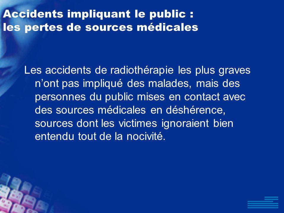 Accidents impliquant le public : les pertes de sources médicales Les accidents de radiothérapie les plus graves nont pas impliqué des malades, mais de