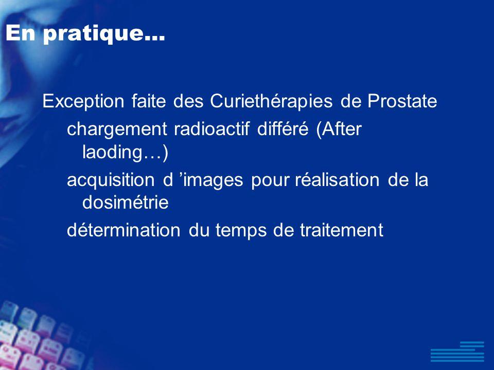 En pratique... Exception faite des Curiethérapies de Prostate chargement radioactif différé (After laoding…) acquisition d images pour réalisation de