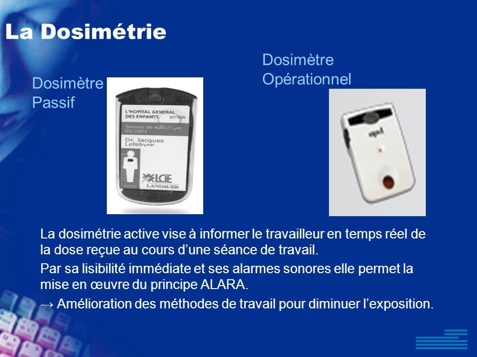 La Dosimétrie La dosimétrie active vise à informer le travailleur en temps réel de la dose reçue au cours dune séance de travail. Par sa lisibilité im