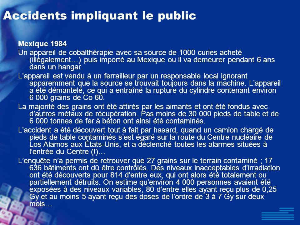 Accidents impliquant le public Mexique 1984 Un appareil de cobalthérapie avec sa source de 1000 curies acheté (illégalement…) puis importé au Mexique