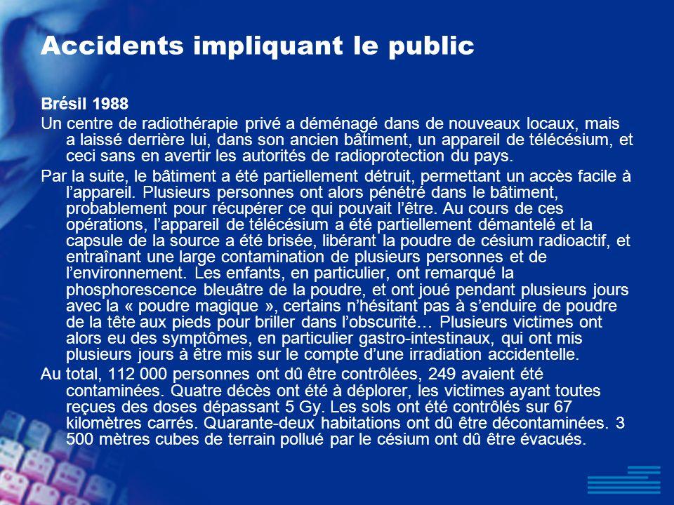Accidents impliquant le public Brésil 1988 Un centre de radiothérapie privé a déménagé dans de nouveaux locaux, mais a laissé derrière lui, dans son a