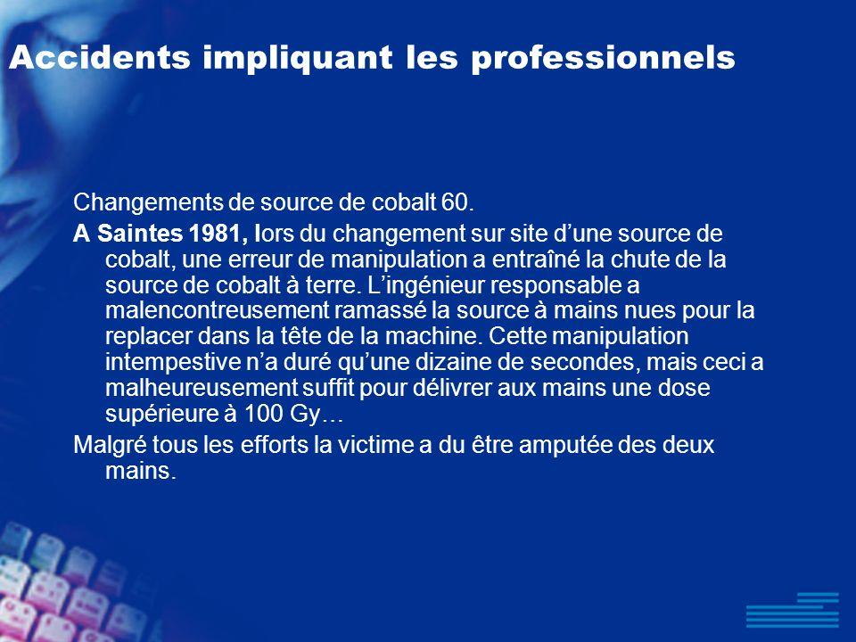 Accidents impliquant les professionnels Changements de source de cobalt 60. A Saintes 1981, lors du changement sur site dune source de cobalt, une err