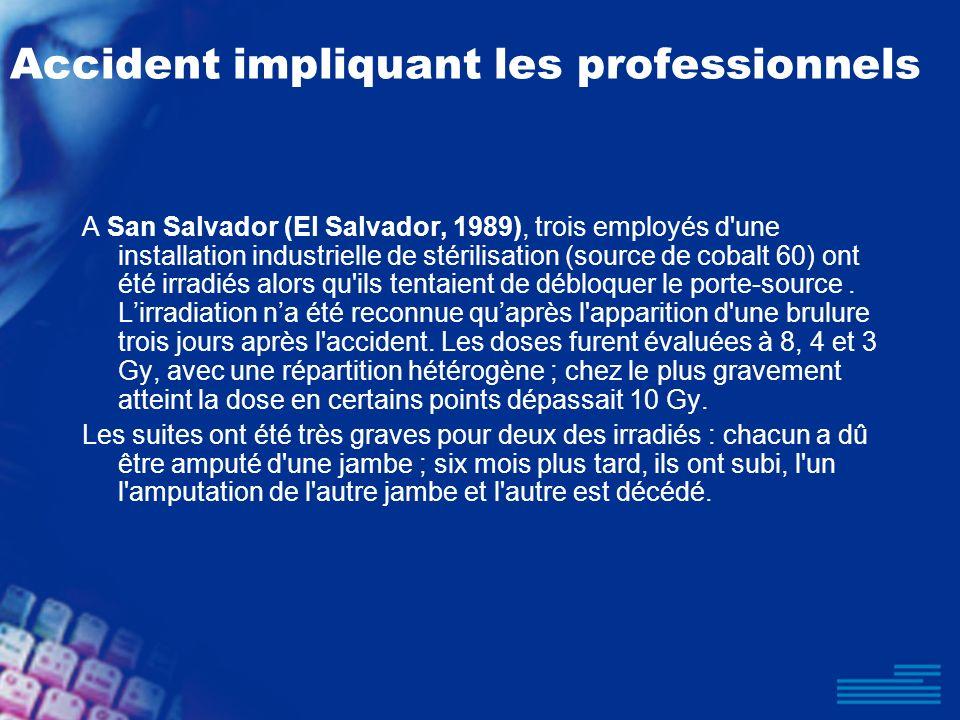 Accident impliquant les professionnels A San Salvador (El Salvador, 1989), trois employés d'une installation industrielle de stérilisation (source de