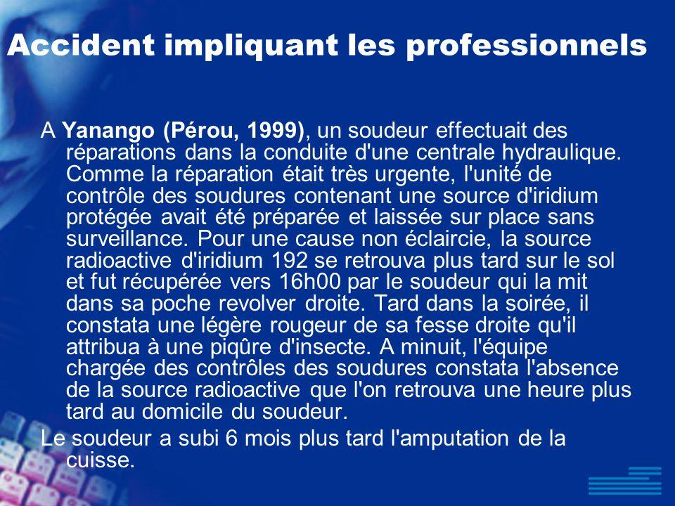 Accident impliquant les professionnels A Yanango (Pérou, 1999), un soudeur effectuait des réparations dans la conduite d'une centrale hydraulique. Com