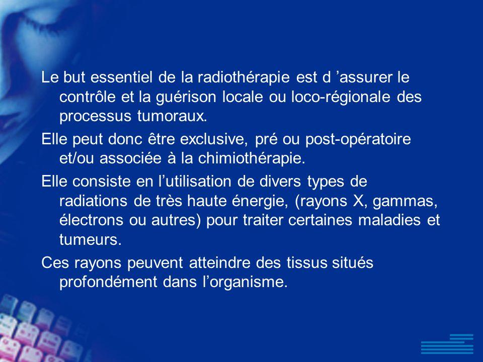 Le but essentiel de la radiothérapie est d assurer le contrôle et la guérison locale ou loco-régionale des processus tumoraux. Elle peut donc être exc