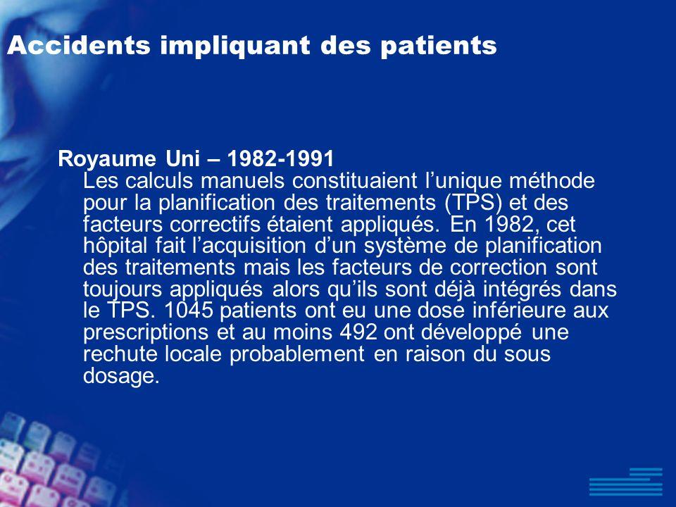 Royaume Uni – 1982-1991 Les calculs manuels constituaient lunique méthode pour la planification des traitements (TPS) et des facteurs correctifs étaie