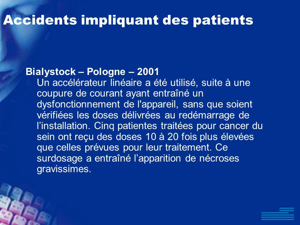 Accidents impliquant des patients Bialystock – Pologne – 2001 Un accélérateur linéaire a été utilisé, suite à une coupure de courant ayant entraîné un