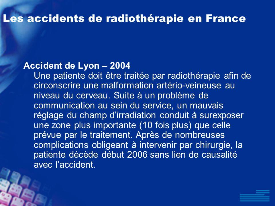 Les accidents de radiothérapie en France Accident de Lyon – 2004 Une patiente doit être traitée par radiothérapie afin de circonscrire une malformatio
