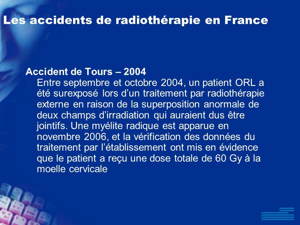 Les accidents de radiothérapie en France Accident de Tours – 2004 Entre septembre et octobre 2004, un patient ORL a été surexposé lors dun traitement