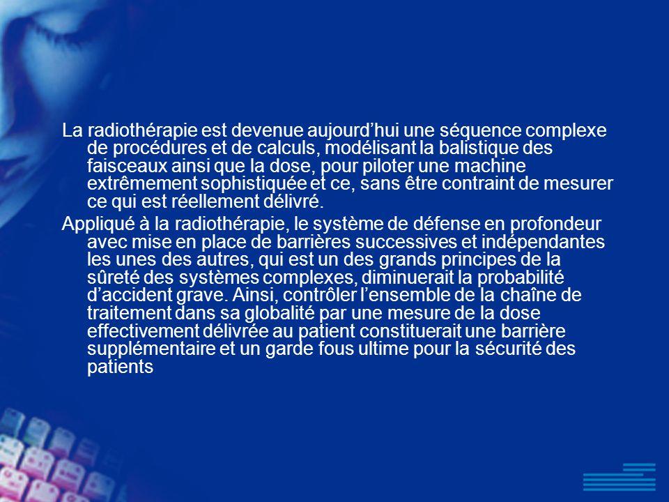 La radiothérapie est devenue aujourdhui une séquence complexe de procédures et de calculs, modélisant la balistique des faisceaux ainsi que la dose, p